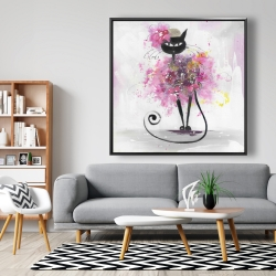 Framed 48 x 48 - Cartoon cat with pink flowers