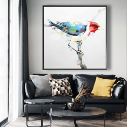 Framed 48 x 48 - Colorful woodpecker