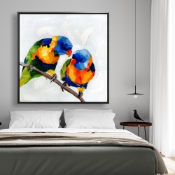 Framed 48 x 48 - Couple of parrots