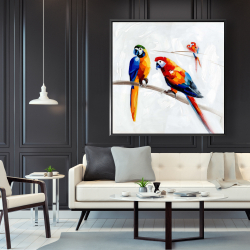 Framed 48 x 48 - Parrots on a branch