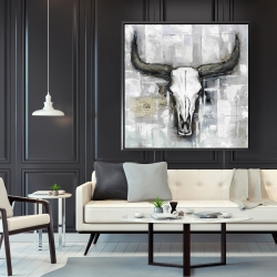 Framed 48 x 48 - Bull skull on an industrial background