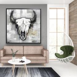 Framed 48 x 48 - Industrial style bull skull