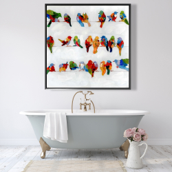 Framed 48 x 48 - A lot of colorful birds on a wire