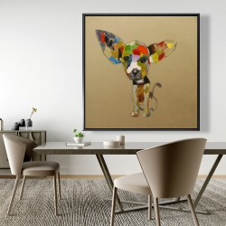 Framed 48 x 48 - Abstract colorful chihuahua