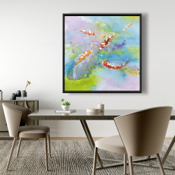Framed 48 x 48 - Four koi fish swimming