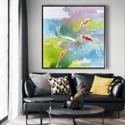Framed 48 x 48 - Koi fish in colorful water