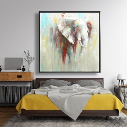 Framed 48 x 48 - Abstract elephant with paint splash