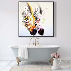 Framed 48 x 48 - Couple of colorful zebras