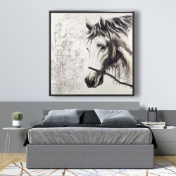 Framed 48 x 48 - Alpha the white horse