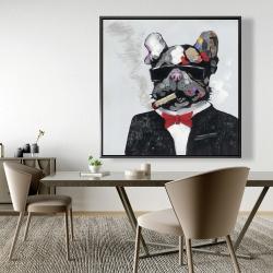 Framed 48 x 48 - Smoking gangster bulldog