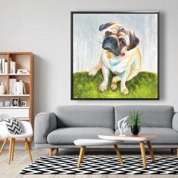 Framed 48 x 48 - Cute pug with a rose in his mouth