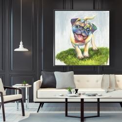 Framed 48 x 48 - Colorful smiling pug