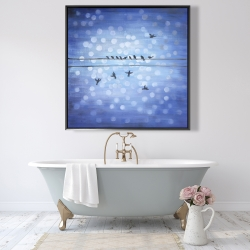 Framed 48 x 48 - Birds on a wire with a clear blue sky