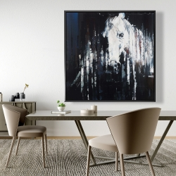 Framed 48 x 48 - Abstract horse on black background