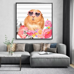 Framed 48 x 48 - Guinea pig with glasses