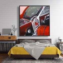Framed 48 x 48 - Vintage red car dashboard