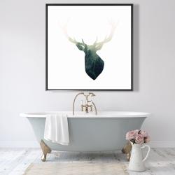 Framed 48 x 48 - Deer head with green landscape shape