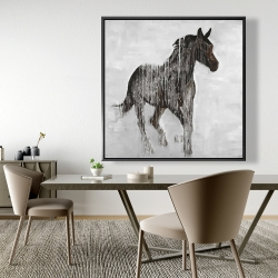 Framed 48 x 48 - Abstract brown horse