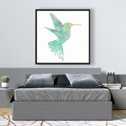 Framed 48 x 48 - Geometric hummingbird