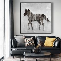 Framed 48 x 48 - Gambading abstract horse