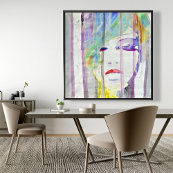 Framed 48 x 48 - Abstract colorful portrait