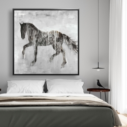 Framed 48 x 48 - Horse brown silhouette