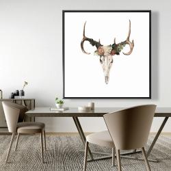Framed 48 x 48 - Deer skull with roses