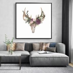 Framed 48 x 48 - Deer skull with flowers