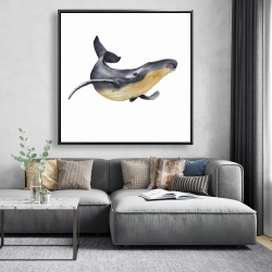 Framed 48 x 48 - Watercolor blue whale
