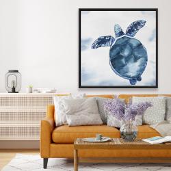 Framed 48 x 48 - Watercolor blue turtle