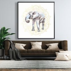 Framed 48 x 48 - Elephant on mandalas pattern