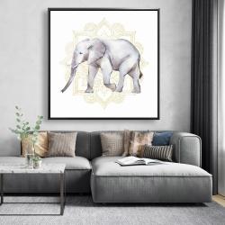 Framed 48 x 48 - Elephant on mandalas