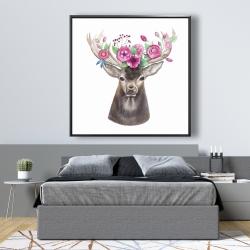 Framed 48 x 48 - Deer head with flowers