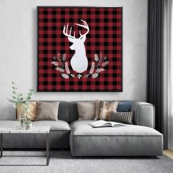Framed 48 x 48 - Deer plaid
