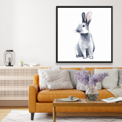 Framed 48 x 48 - Gray curious rabbit