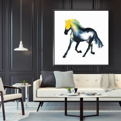 Framed 48 x 48 - Galloping colorful horse