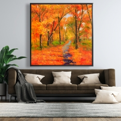 Framed 48 x 48 - Autumn trail in the forest