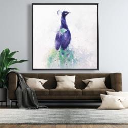 Framed 48 x 48 - Graceful peacock