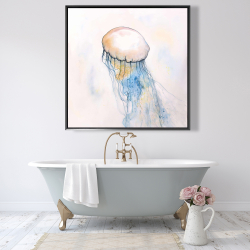 Framed 48 x 48 - Watercolor jellyfish