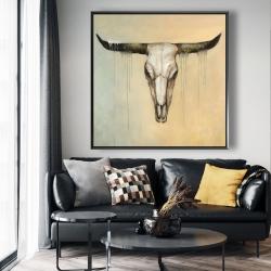 Framed 48 x 48 - Bull skull