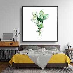 Framed 48 x 48 - Tied up basil leaves bundle - en