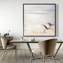 Framed 48 x 48 - Two sandpipers on the beach