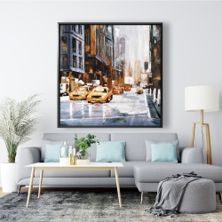 Framed 48 x 48 - Big city street with yellow taxi