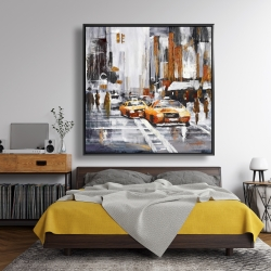 Framed 48 x 48 - Abstract citystreet with yellow taxis