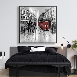 Framed 48 x 48 - Black and white street with red bus