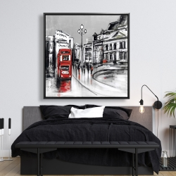 Framed 48 x 48 - Abstract gray city with red bus