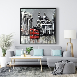 Framed 48 x 48 - London street with red bus