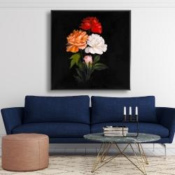 Framed 48 x 48 - Three beautiful rose flowers