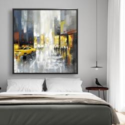Framed 48 x 48 - Rainy busy street
