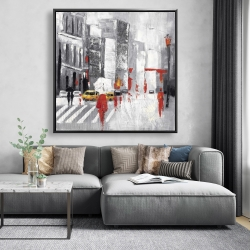 Framed 48 x 48 - Abstract cloudy city street